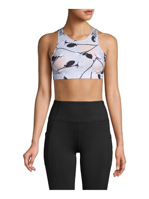 Wear It To Heart Floral-Print Mesh High-Neck Sports Bra