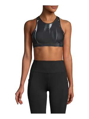Wear It To Heart High-Neck Printed Sports Bra