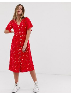 Wednesday's Girl button down midi dress in polka dot-red