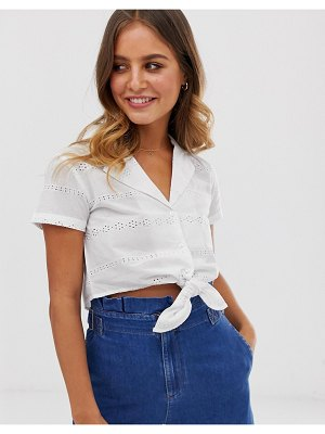Wednesday's Girl crop blouse with tie front in broderie-white
