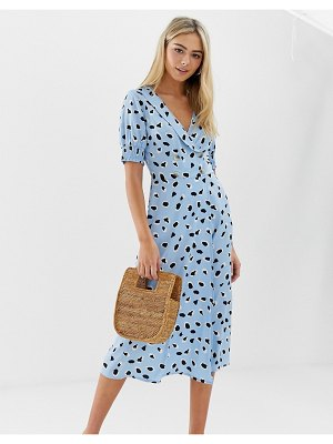 Wednesday's Girl midi dress with shirred sleeves in abstract polka dot-blue