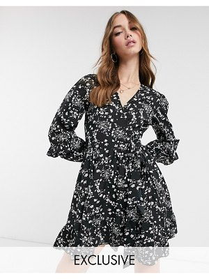 Wednesday's Girl mini wrap dress in ditsy floral-black