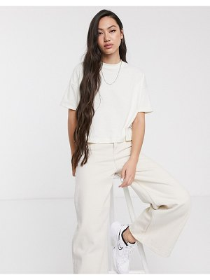 Weekday 100% organic cotton boxy crop t-shirt in off-white