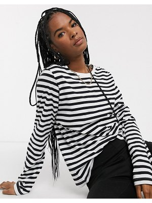 Weekday alanis long sleeve tee in black and white stripe