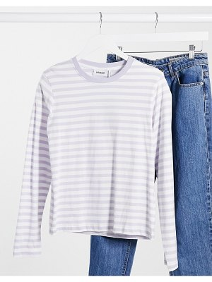 Weekday alanis organic cotton striped long sleeve t-shirt in dusty lilac-purple