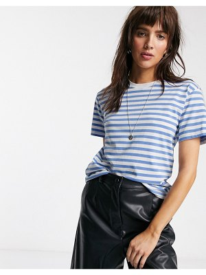 Weekday alanis organic cotton striped round neck tee in blue and white