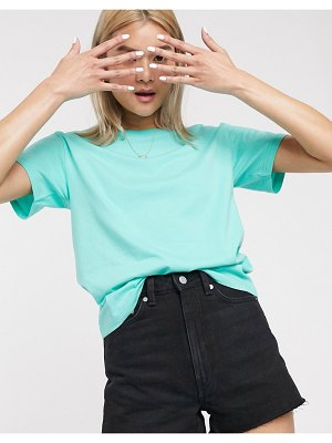 Weekday alanis round neck tee in turquoise-blue