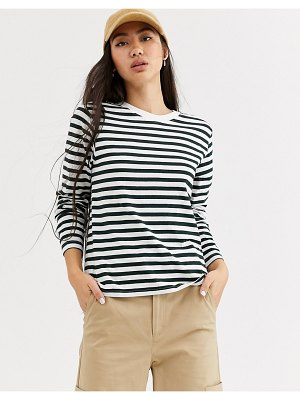 Weekday alanis striped long sleeve t-shirt in teal and white-multi