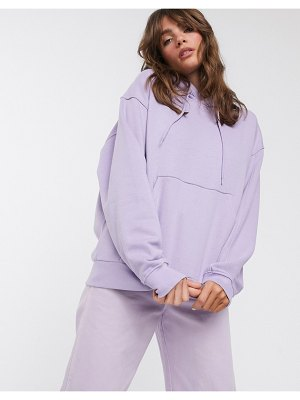Weekday alisa organic cotton oversized hoodie in lavender-purple