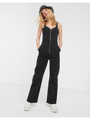 Weekday augusta zip front sleeveless denim jumpsuit in black