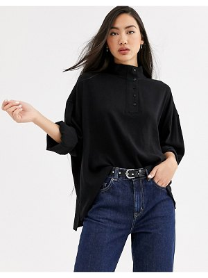 Weekday banjo high neck blouse in black