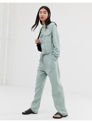 Weekday boiler suit with tie waist in mint-green