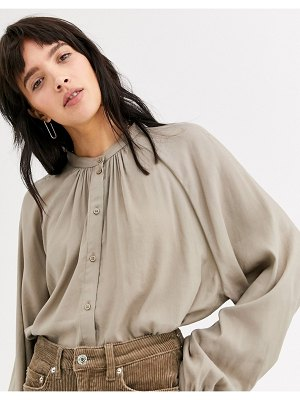Weekday button through balloon sleeve blouse in taupe gray