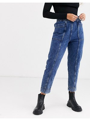 Weekday byron acid wash tapered jeans in blue-multi