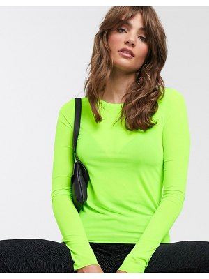 Weekday cameron mesh long sleeve t-shirt in neon green