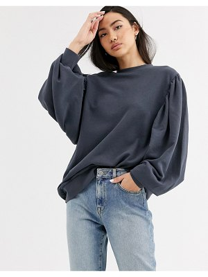 Weekday charlee balloon sleeve sweatshirt in dark gray