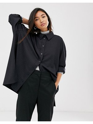 Weekday checked oversized shirt in navy