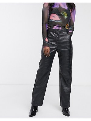 Weekday croc effect faux leather pants in black
