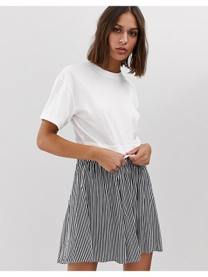 Weekday cropped crew neck t-shirt in white