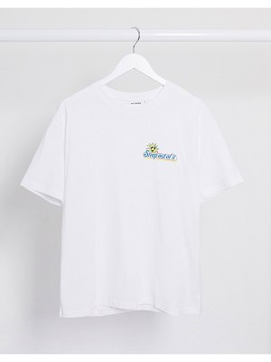 Weekday easy organic cotton 'snap out of it' t-shirt in white