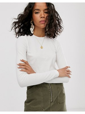 Weekday fine ribbed long sleeve t-shirt in off white