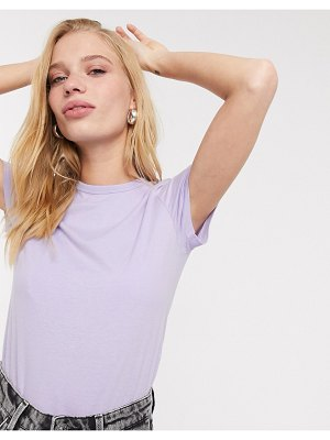 Weekday forever cropped classic t-shirt in lilac-purple