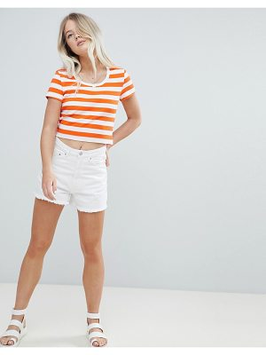 Weekday High Waist Mom Short With Raw Hem
