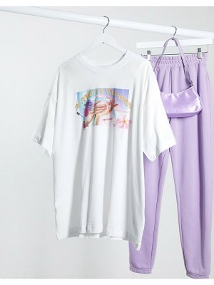Weekday huge organic cotton nail parlour print t-shirt in white