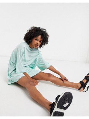 Weekday huge organic cotton oversized t-shirt dress in sea green