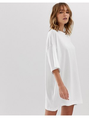 Weekday huge t-shirt dress in white
