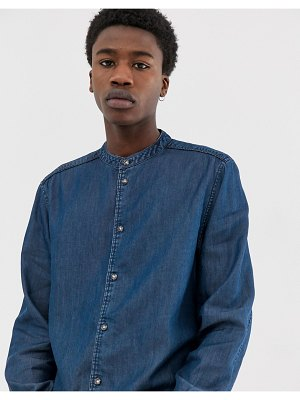 Weekday hunt denim shirt with granddad collar in light blue