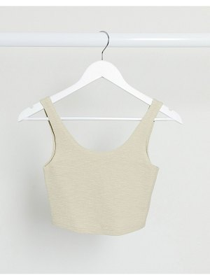 Weekday kitty organic cotton shirred cami top in beige-brown