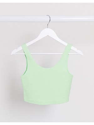 Weekday kitty organic cotton shirred cami top in mint green