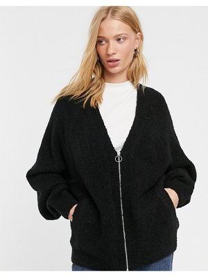 Weekday knitted zipped cardigan in black