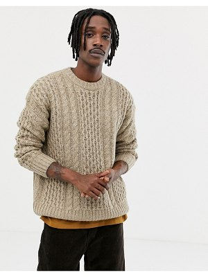Weekday larry cable knit sweater in beige