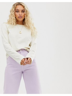 Weekday long sleeve t shirt in off white