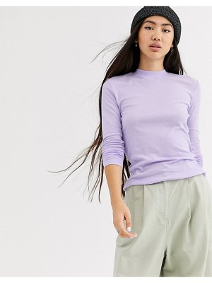 Weekday meja long sleeve t-shirt in lilac-purple