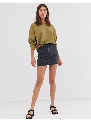 Weekday mini denim skirt in washed black