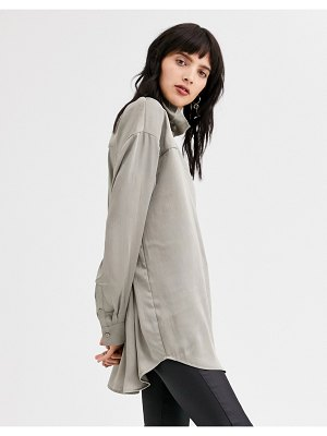 Weekday moira blouse in mole-gray