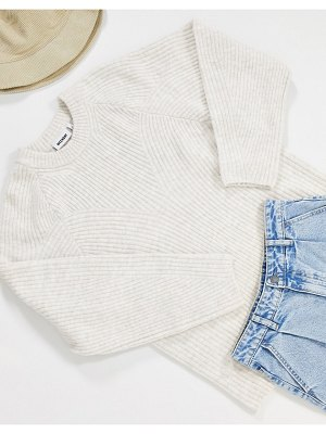 Weekday mona rib detail sweater in off-white marl