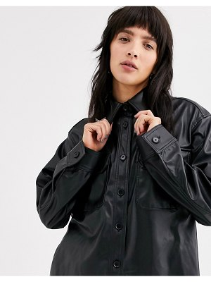 Weekday nancy faux leather shirt in black
