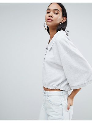 Weekday oversized crop polo shirt in gray