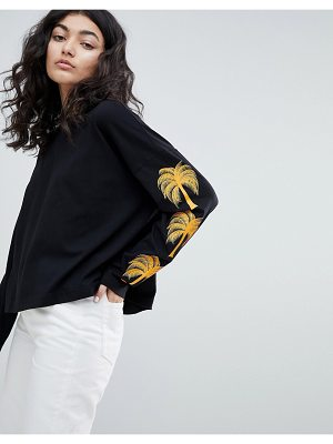 Weekday palm print long sleeve top in black with palm print