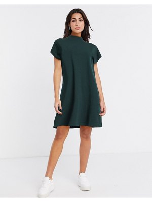 Weekday prime organic cotton jersey mini dress in bottle green