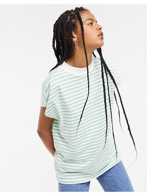 Weekday prime organic cotton striped high neck tee in green and white-multi