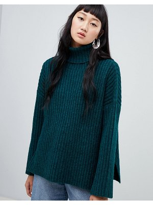 Weekday ribbed chunky turtleneck with side splits