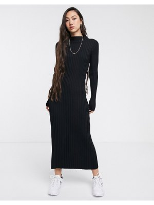 Weekday ribbed knitted maxi dress in black