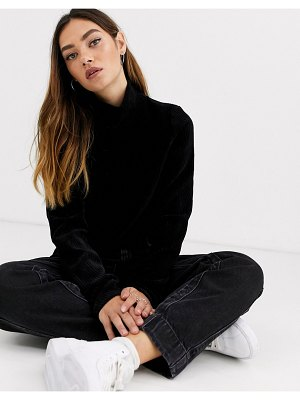 Weekday ribbed velvet turtleneck top in black