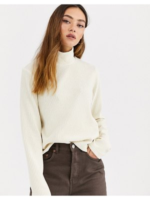 Weekday ribbed velvet turtleneck top in cream