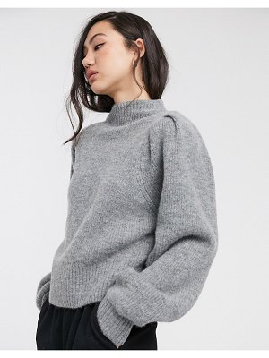 Weekday sadie puff sleeve sweater in gray-green